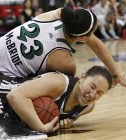 Notre Dame's Kayla McBride (23) falls on St. Bonaventure's Jennie Ashton during the first half of an NCAA college women's tournament regional semifinal basketball game in Raleigh, N.C., Sunday, March 25, 2012. (AP Photo/Gerry Broome)