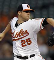 Baltimore Orioles starting pitcher Bud Norris throws to the Houston Astros in the first inning of a baseball game on Thursday, Aug. 1, 2013, in Baltimore. (AP Photo/Patrick Semansky)