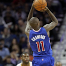 Los Angeles Clippers shooting guard Jamal Crawford (11) shoots for two of his 24-points as New Orleans Pelicans small forward Tyreke Evans (1) looks on in the second half of an NBA basketball in New Orleans, Monday, Feb. 24, 2014. The Clippers defeated th