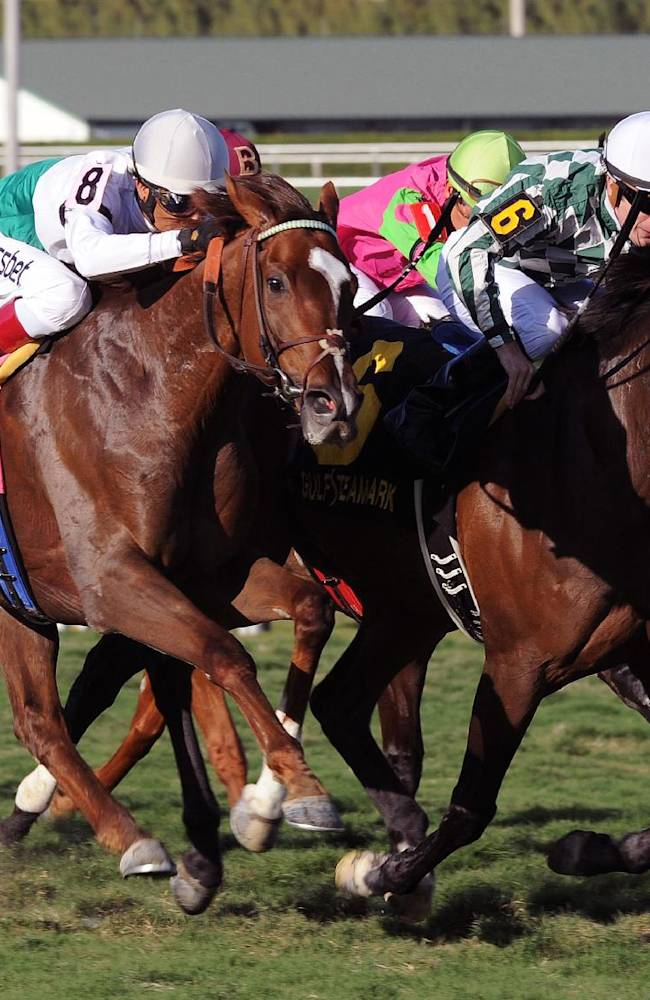 In a photo provided by Gulfstream Park, Centre Court, right, with Julien Leparoux aboard, captures the Honey Fox Stakes horse race at Gulfstream Park in Hallandale Beach, Fla., Saturday, March 15, 2014. Kitten's Point, with Edgar S. Prado aboard, took second