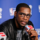OKLAHOMA CITY, OK - MAY 15: Kevin Durant #35 of the Oklahoma City Thunder speaks at a press conference following his team's series loss to the Memphis Grizzlies in Game Five of the Western Conference Semifinals during the 2013 NBA Playoffs on May 15, 2013 at the Chesapeake Energy Arena in Oklahoma City, Oklahoma. (Photo by Layne Murdoch/NBAE via Getty Images)