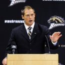 FILE - Western Michigan's new football coach, P.J. Fleck, speaks in this Dec. 18, 2012 file photo taken in Kalamazoo, Mich. In January, Western Michigan made 32-year-old P.J. Fleck the youngest coach in FBS, taking the that title away from Toledo's Matt Campbell, who is exactly one year older than Fleck and already has been running the Rockets for more than a season. (AP Photo/Kalamazoo Gazette, Matt Gade)