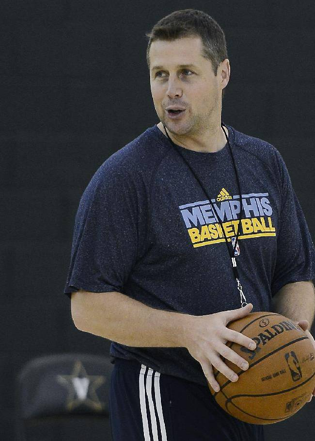 Memphis Grizzlies head coach David Joerger conducts practice during NBA basketball training camp on Wednesday, Oct. 2, 2013 at Vanderbilt University in Nashville, Tenn
