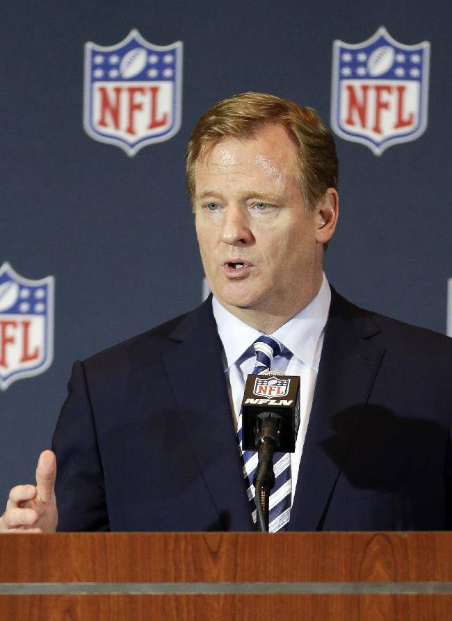 NFL Commissioner Roger Goodell answers questions during a news conference at the NFL football annual meeting in Orlando, Fla., Monday, March 24, 2014