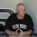 New York Yankees catcher Brian McCann sits in the dugout between innings of an exhibition spring training baseball game against the Detroit Tigers in Lakeland, Fla., Friday, Feb. 28, 2014. The Yankees on 7-4 The Associated Press
