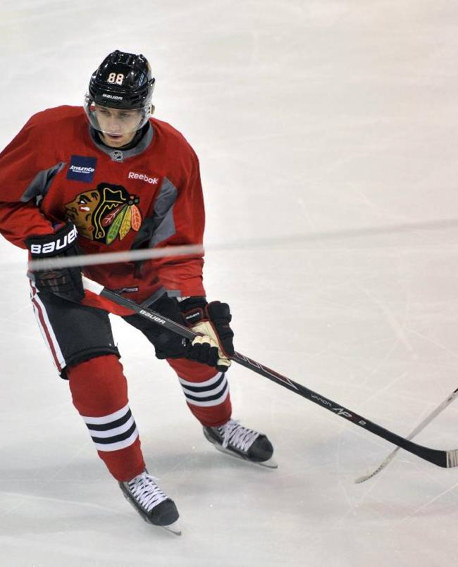 Chicago Blackhawks forward Patrick Kane skates during NHL hockey training camp at the Compton Family Ice Arena at the University of Notre Dame, Friday Sept. 19, 2014, in South Bend, Ind