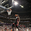 LeBron James #6 of the Miami Heat dunks against the Charlotte Bobcats during Game Three of the Eastern Conference Quarterfinals of the 2014 NBA playoffs at the Time Warner Cable Arena on April 26, 2014 in Charlotte, North Carolina. (Photo by Kent Smith/NBAE via Getty Images)