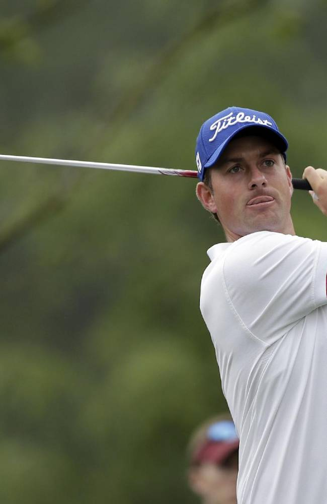 Webb Simpson watches his tee shot on the 11th hole during the second round of the Wells Fargo Championship golf tournament in Charlotte, N.C., Friday, May 2, 2014