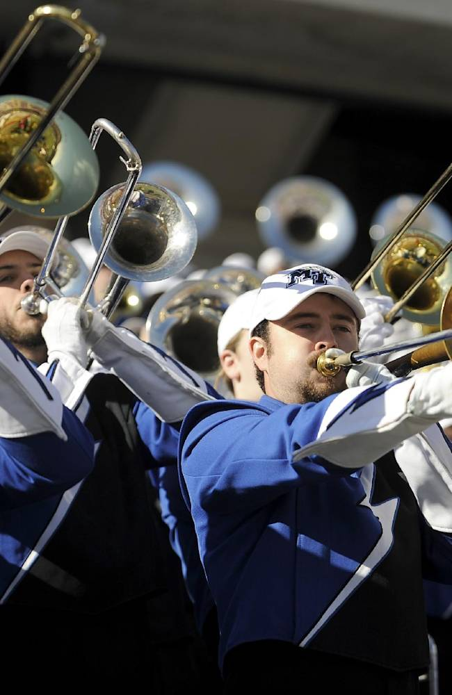 The Middle Tennessee Blue Raiders band performs in the stands in the first half during the Armed Forces Bowl NCAA college football game against the Navy Midshipmen, Monday, Dec. 30, 2013, in Fort Worth, Texas