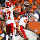 Kansas City Chiefs running back Knile Davis (34) celebrates his touchdown with Donnie Avery against the Denver Broncos during the first half of an NFL football game, Sunday, Sept. 14, 2014, in Denver The Associated Press