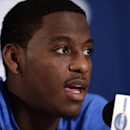 UCLA guard Jordan Adams speaks during a news conference at the NCAA college basketball tournament Saturday, March 22, 2014, in San Diego. UCLA faces Stephen F. Austin in a third-round game on Sunday. (AP Photo/Gregory Bull)