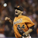 San Francisco Giants closing pitcher Sergio Romo reacts after striking out Colorado Rockies' Troy Tulowitzki in the ninth inning of a baseball game Friday, April 11, 2014, in San Francisco. San Francisco won the game 6-5 The Associated Press