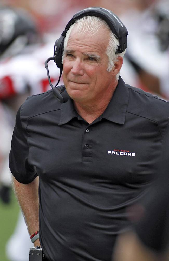 Atlanta Falcons head coach Mike Smith during the second quarter of an NFL football game against the Tampa Bay Buccaneers Sunday, Nov. 17, 2013, in Tampa, Fla
