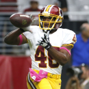 Washington Redskins running back Alfred Morris (46) warms up before an NFL football game against the Arizona Cardinals, Sunday, Oct. 12, 2014, in Glendale, Ariz The Associated Press