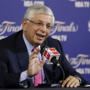 NBA commissioner David Stern speaks at a news conference before the start of Game 1 of the NBA Finals basketball game between the San Antonio Spurs and Miami Heat, Thursday, June 6, 2013 in Miami. Stern is retiring February 1, 2014. (AP Photo/Wilfredo Lee)