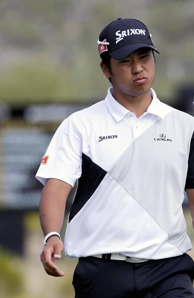 Hideki Matsuyama, of Japan, reacts after a missed birdie putt on the 16th hole in his match against Martin Kaymer, during the first round of the Match Play Championship golf tournament on Wednesday, Feb. 19, 2014, in Marana, Ariz