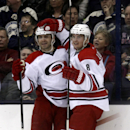 Carolina Hurricanes' Andrei Loktionov, right, of Russia, celebrates with teammate Patrick Dwyer after Dwyer's goal against the Columbus Blue Jackets in the second period of an NHL hockey game in Columbus, Ohio, Tuesday, March 18, 2014. Carolina won 3-1 T