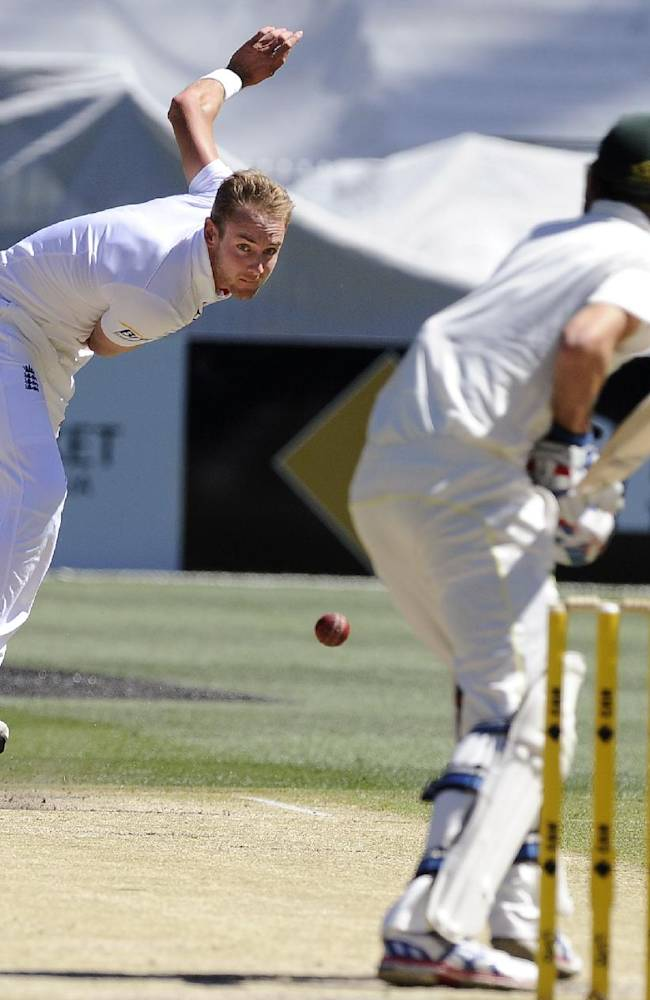 England's Stuart Broad, left, bowls to Australia's Nathan Lyon during their Ashes cricket test match, Saturday, Dec. 28, 2013, at the Melbourne Cricket Ground in Melbourne, Australia