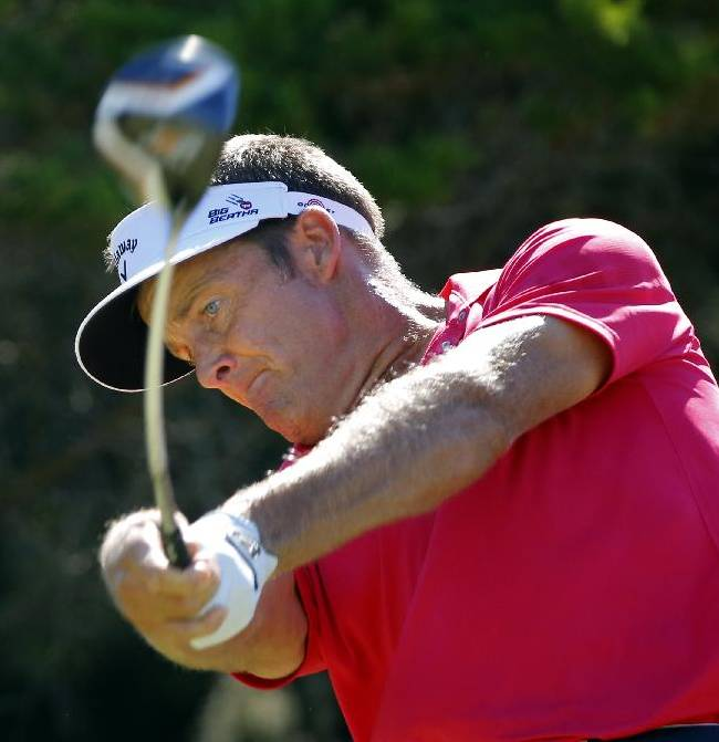 Stuart Appleby, of Australia, hits off the second tee during the final round of the McGladrey Classic golf tournament on Sunday, Oct. 26, 2014, in St. Simons Island, Ga