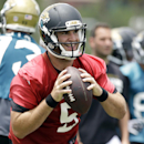 In this June 18, 2014, file photo, Jacksonville Jaguars quarterback Blake Bortles (5) looks for a receiver during a scrimmage at NFL football minicamp in Jacksonville, Fla. The Jaguars are trying to build a better team around Bortles, with the belief that