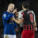 Everton's Steven Naismith, left, confronts Queens Park Rangers' Joey Barton after a supposed elbow by the latter during the English Premier League soccer match between Everton and Queens Park Rangers at Goodison Park Stadium, Liverpool, England, Monday De