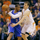 Phoenix Suns guard Goran Dragic, of Slovenia, defends against Los Angeles Clippers guard Chris Paul (3) during the second half of an NBA basketball game, Wednesday, April 2, 2014,in Phoenix The Associated Press