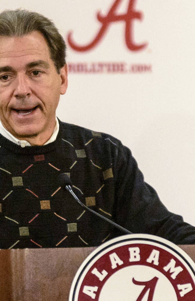 Alabama Coach Nick Saban speaks during his Monday Game-Week press conference, rehashing the Mississippi State game and looking forward to Chattanooga, Monday, Nov. 18, 2013, at the Mal Moore Athletic Facility in Tuscaloosa, Ala