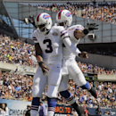 Buffalo Bills quarterback EJ Manuel (3) celebrates his touchdown run with running back Fred Jackson in the end zone during the first half of an NFL football game against the Chicago Bears Sunday, Sept. 7, 2014, in Chicago The Associated Press