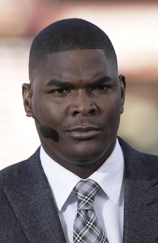 Former NFL receiver and television analyst Keyshawn Johnson is seen before an NFL football game between the San Francisco 49ers and the Atlanta Falcons in San Francisco, Monday, Dec. 23, 2013