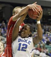 Duke's Chelsea Gray, right, is fouled by North Carolina State's Marissa Kastanek, left, during the first half of an  Atlantic Coast Conference tournament NCAA college basketball game in Greensboro, N.C., Friday, March 2, 2012. (AP Photo/Chuck Burton)
