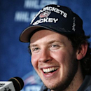 Team Foligno's Ryan Johansen, of the Columbus Blue Jackets, is interviewed after being chosen the Most Valuable Player in the NHL All-Star hockey game in Columbus, Ohio, Sunday, Jan. 25, 2015. Team Toews won 17-12 The Associated Press