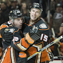 The Ducks' Francois Beauchemin, left, celebrates his goal with Ryan Getzlaf during a game in Los Angeles on Wednesday night Jan. 7, 2014 The Associated Press