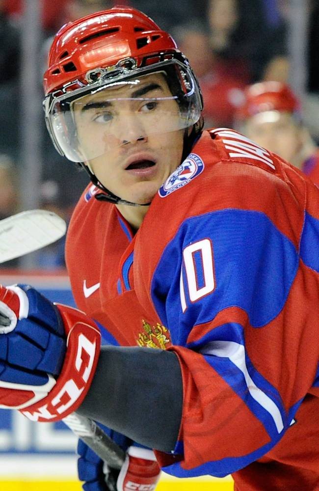 Nail Yakupov #10 of Team Russia skates during the 2012 World Junior Hockey Championship Quarterfinal game against Team Czech Republic