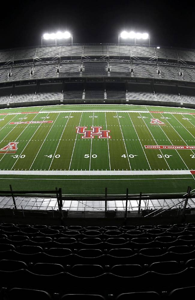 TDECU Stadium, the new football stadium for the NCAA college football Houston Cougars, is shown Wednesday, Aug. 20, 2014, in Houston. Houston will open their season in the new stadium Friday, Aug. 29th when they play Texas-San Antonio