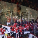 The Chicago Blackhawks celebrate the game-winner in overtime  by Bryan Bickell Tuesday  in Game 1 of an NHL hockey Stanley Cu