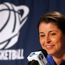 Duke NCAA college basketball women's head coach Joanne P. McCallie speaks to the media during a press conference, Monday, April 1, 2013 at the Ted Constant Center in Norfolk, Va. Duke will play Notre Dame on Tuesday in the regional final. (AP Photo/Jason Hirschfeld)