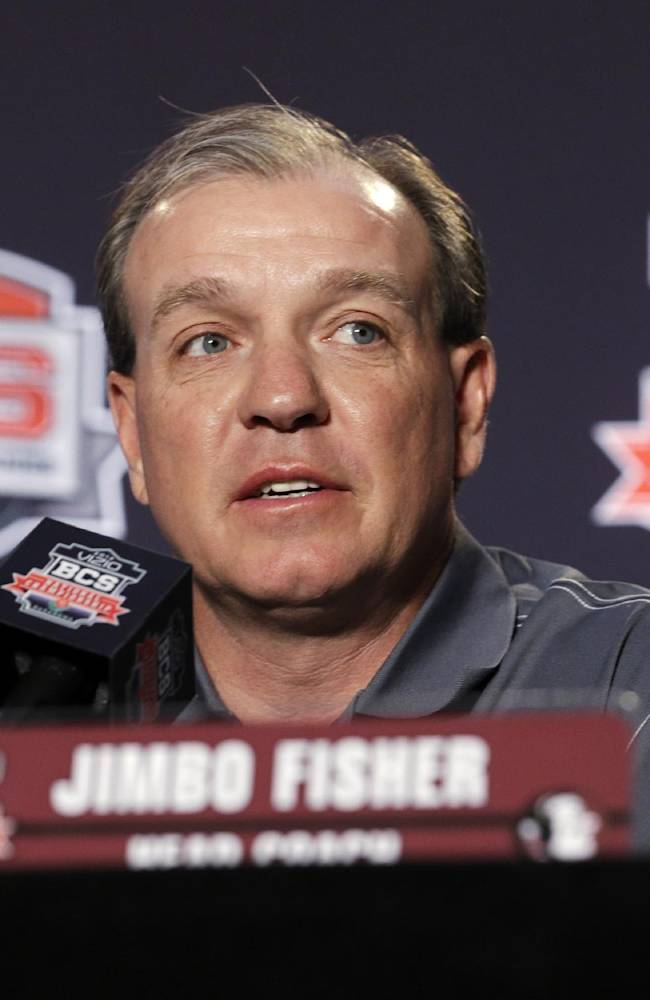 Florida State head coach Jimbo Fisher speaks during a news conference for the BCS National Championship NCAA college football game Tuesday, Jan. 7, 2014, in Newport Beach, Calif. Florida State beat Auburn 34-31 to win the championship the night before