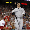 New York Yankees designated hitter Alex Rodriguez reacts after making the last out on a called third strike, with the ball in Washington Nationals catcher Wilson Ramos' glove, in a baseball game at Nationals Park, Wednesday, May 20, 2015, in Washington. The Nationals won 3-2. (AP Photo/Alex Brandon)