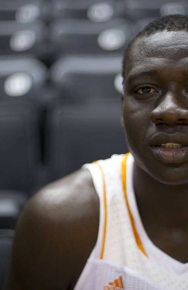 Rawane Ndiaye waits for interviews at Tennessee basketball media day in Knoxville, Tenn. on Monday, Oct. 7, 2013