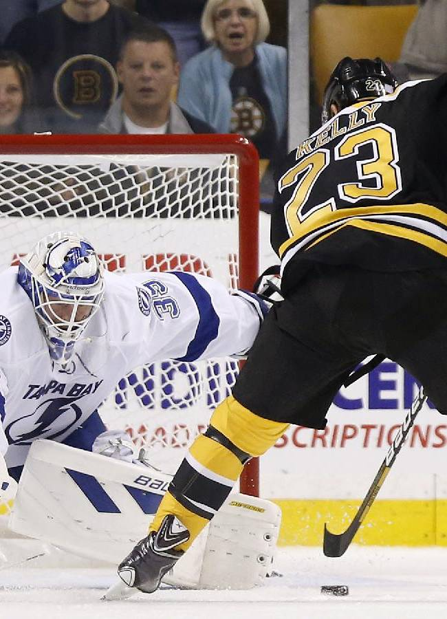 Short-handed Bruins beat Lightning 3-1 in opener