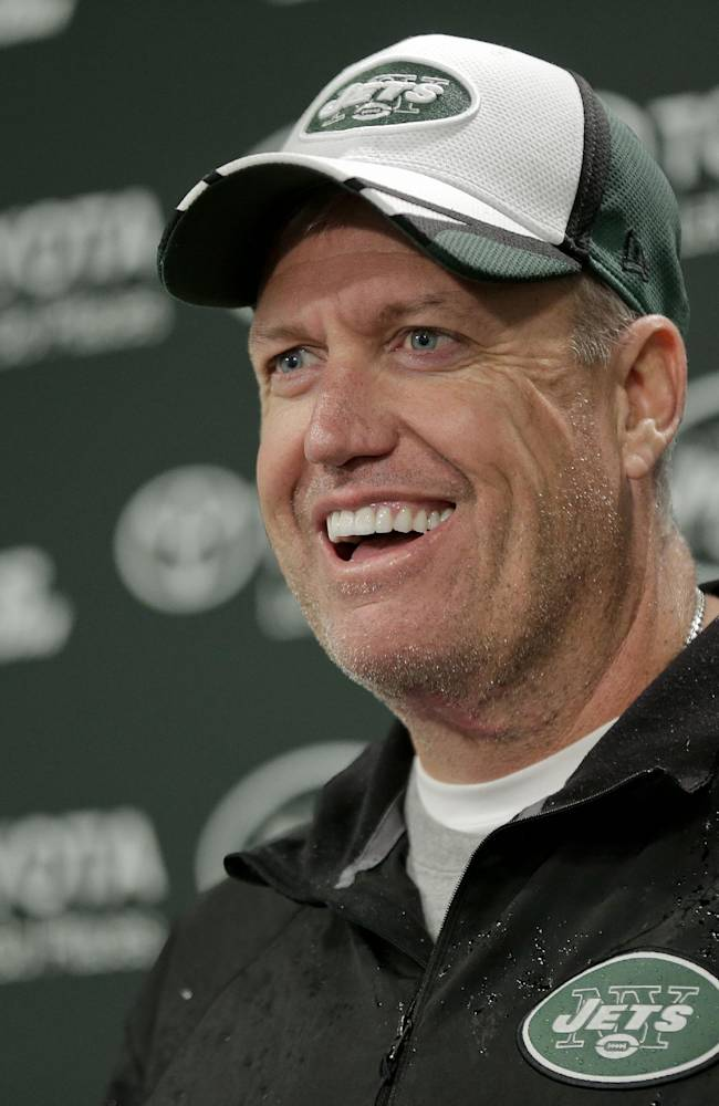 New York Jets head coach Rex Ryan answers questions during a news conference at the team's NFL football rookie camp, Friday, May 16, 2014, in Florham Park, N.J