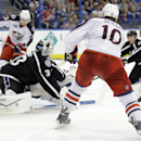 Columbus Blue Jackets right wing Jack Skille watches as his shot is deflected by Tampa Bay Lightning right wing Nikita Kucherov (86), of Russia, past goalie Ben Bishop (30) for a goal during the third period of an NHL hockey game Saturday, Dec. 6, 2014, i