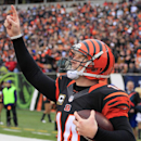 In this Dec. 29, 2013 file photo, Cincinnati Bengals quarterback Andy Dalton celebrates after scoring on a 1-yard touchdown run in the second half of an NFL football game against the Baltimore Ravens, in Cincinnati. Dalton is comparing himself with some