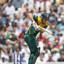South Africa's David Miller plays a shot off the bowling of England's Steven Finn during their ICC Champions Trophy semifinal cricket match at the Oval cricket ground in London, Wednesday, June 19, 2013. (AP Photo/Sang Tan)