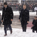 Montreal Canadiens players Max Pacioretty, left, and Lars Eller arrive for the funeral service for Jean Beliveau, Wednesday, December 10, 2014 in Montreal The Associated Press
