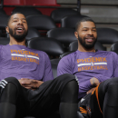 SACRAMENTO, CA - APRIL 16: Markieff Morris #11 and Marcus Morris #15 of the Phoenix Suns prior to the game against the Sacramento Kings on April16, 2014 at Sleep Train Arena in Sacramento, California. (Photo by Rocky Widner/NBAE via Getty Images)