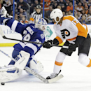 Philadelphia Flyers right wing Wayne Simmonds (17) is stopped by Tampa Bay Lightning goalie Anders Lindback, of Sweden, on a penalty shot during the first period of an NHL hockey game Wednesday, Nov. 27, 2013, in Tampa, Fla The Associated Press