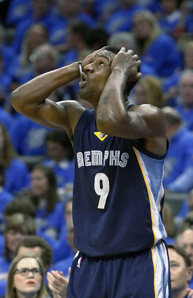 Memphis Grizzlies guard Tony Allen (9) reacts to a call against him in the third quarter of play against the Oklahoma City Thunder in Game 1 of the opening-round NBA basketball playoff series in Oklahoma City on Saturday, April 19, 2014. Oklahoma City won 100-86