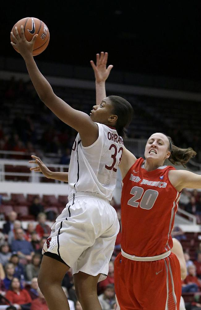 Stanford guard Amber Orrange (33) shoots against New Mexico guard Sara Halasz (20) during the second half of an NCAA college basketball game in Stanford, Calif., Monday, Dec. 16, 2013. Stanford won 75-41