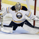 Buffalo Sabres goalie Michal Neuvirth blocks a shot by the Anaheim Ducks during the third period of an NHL hockey game in Anaheim, Calif., Wednesday, Oct. 22, 2014 The Associated Press